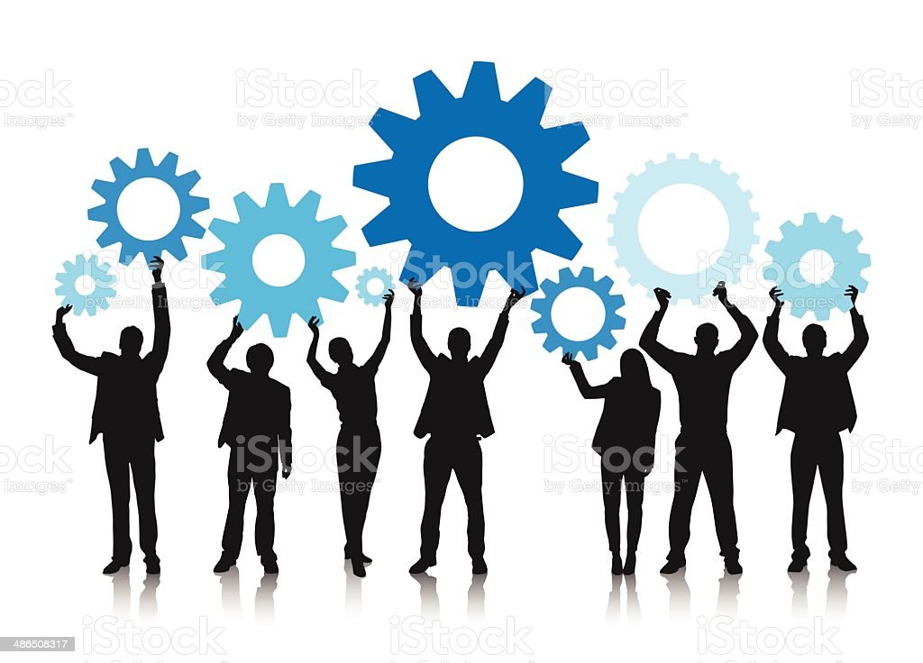 Business people holding gears vector art illustration