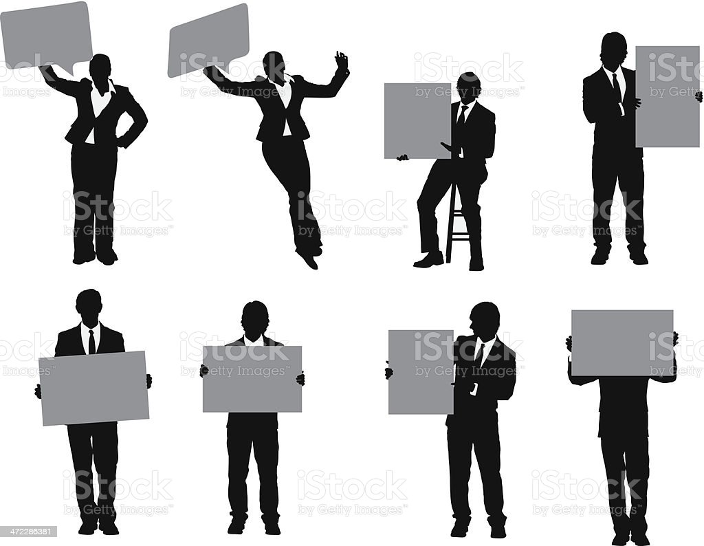 Business people holding placards vector art illustration