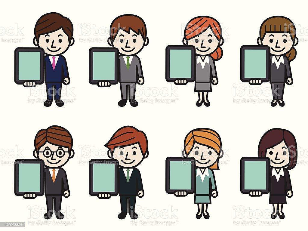 Business people holding TabletPC vector art illustration