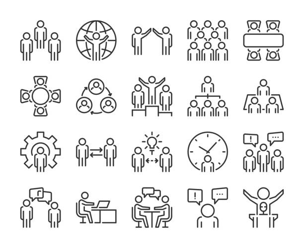 Business people icon. Business people line icon set. Editable stroke, 64x64 Pixel perfect. Business people icon. Business people line icon set. Editable stroke, 64x64 Pixel perfect. meeting stock illustrations