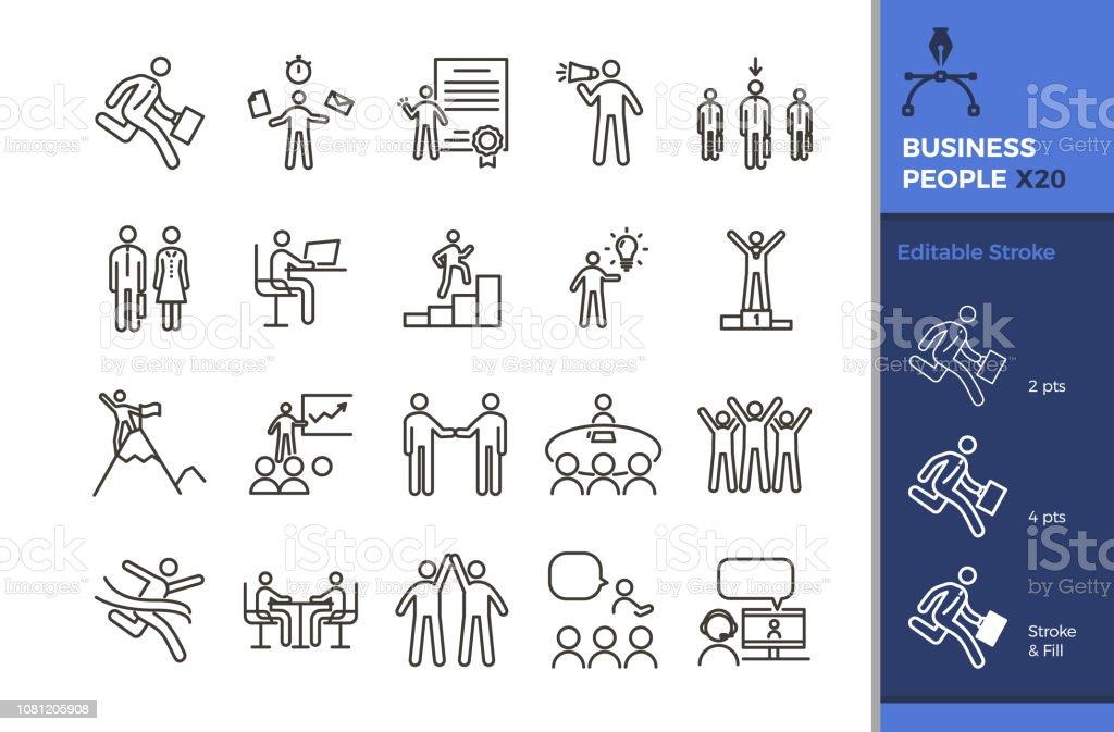 Jeu Dicones De Gens Affaires 20 Illustrations De Graphisme Vectoriel