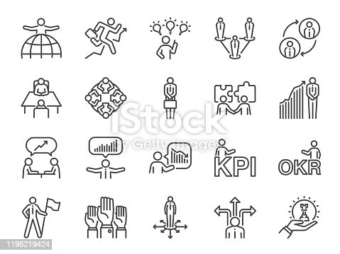 Business people icon set. Included icons as group, team, people, conference, leader, management and more.
