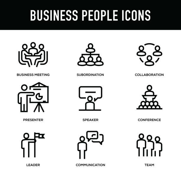 geschäft leute-icon-set - dicke linie serie - flipchart stock-grafiken, -clipart, -cartoons und -symbole