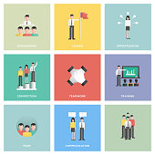Business People Icon Set Flat Design