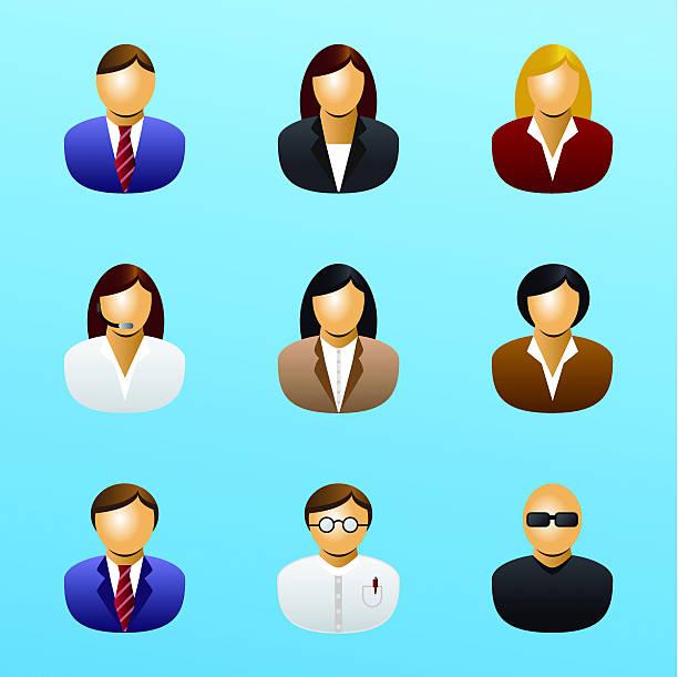 ilustraciones, imágenes clip art, dibujos animados e iconos de stock de icono de gente de negocios - gerente de cuentas