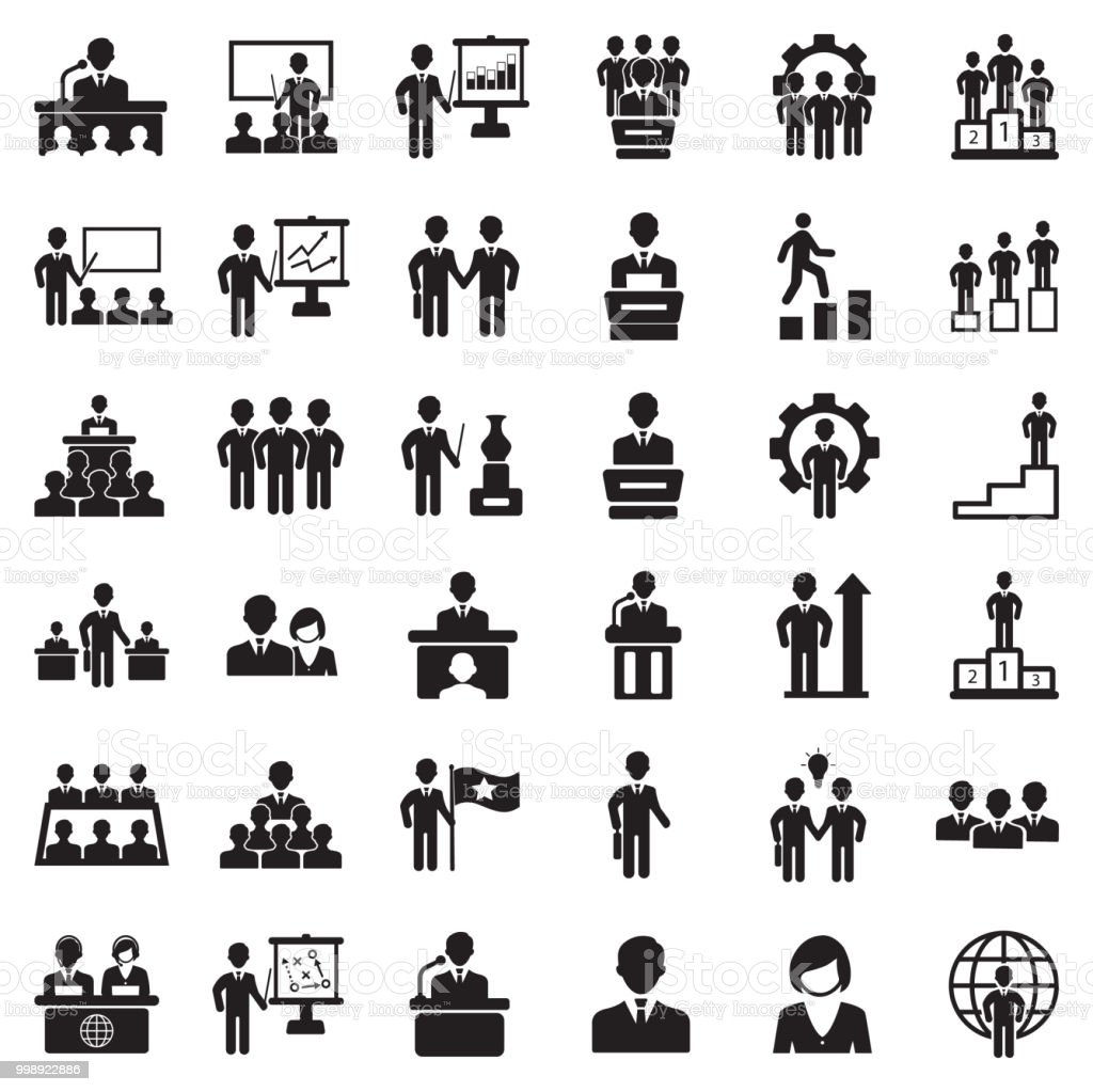 Business People Icons. Black Flat Design. Vector Illustration. vector art illustration