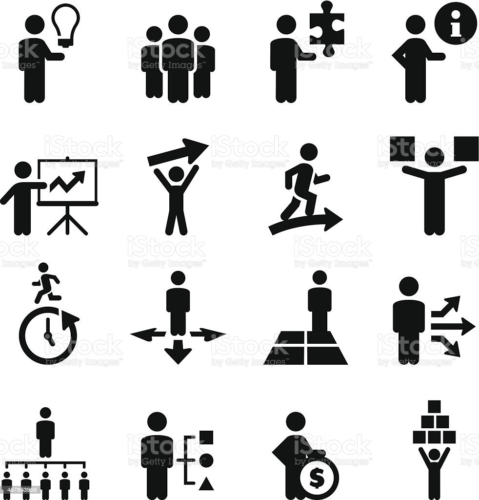 Business People Icons - Black Series vector art illustration