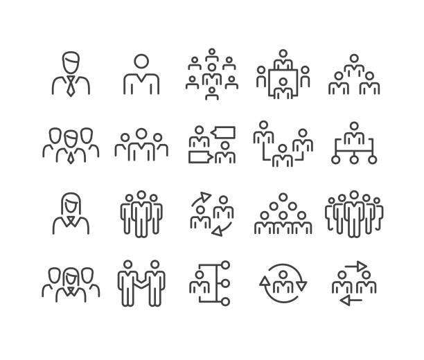 ilustrações, clipart, desenhos animados e ícones de executivos dos ícones-série clássica da linha - business man