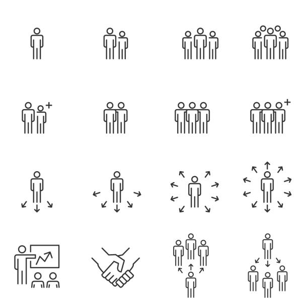illustrazioni stock, clip art, cartoni animati e icone di tendenza di business people icons , meeting communication , work group team line vector - people icon