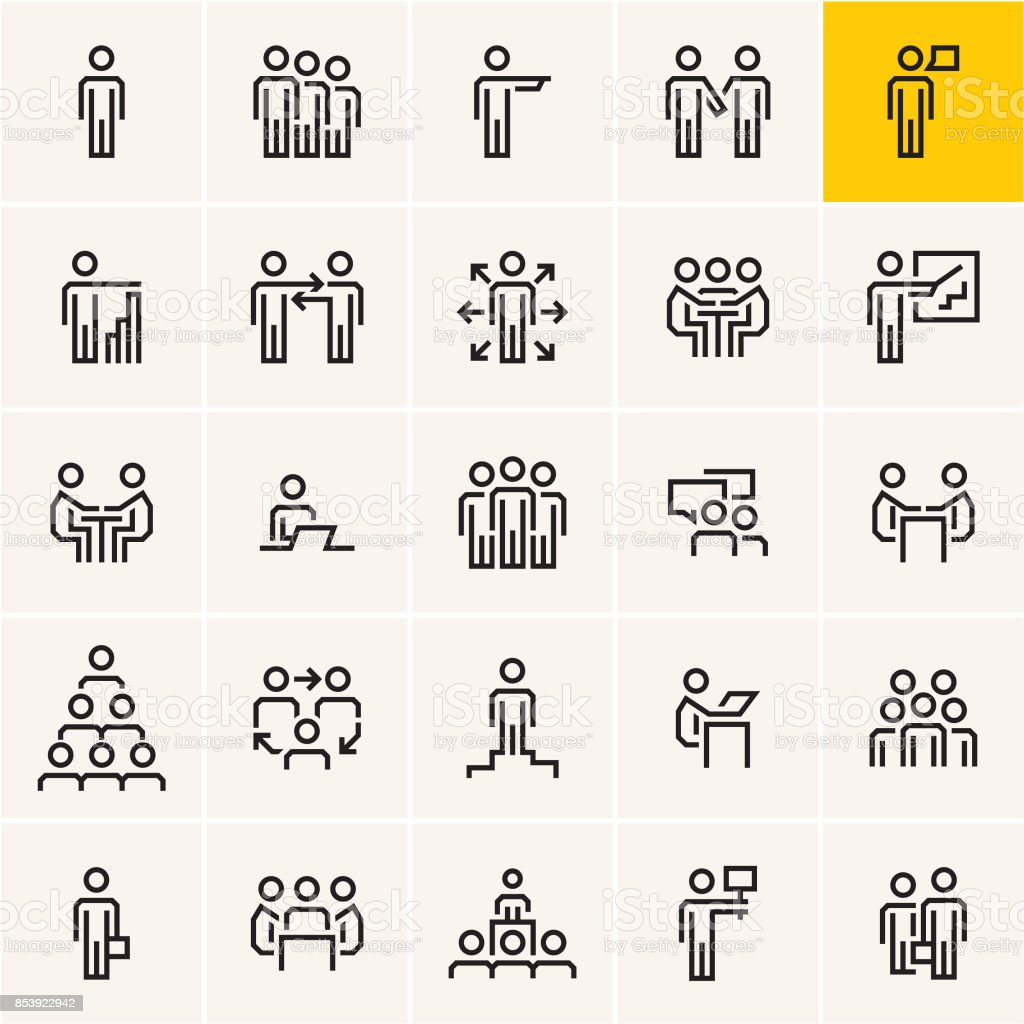 business people icons set, business and communications vector art illustration