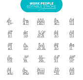 People, Chart, Working, Worker, Infographic, Editable Stroke Icon Set