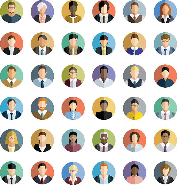 business people. icons set. - portrait stock illustrations