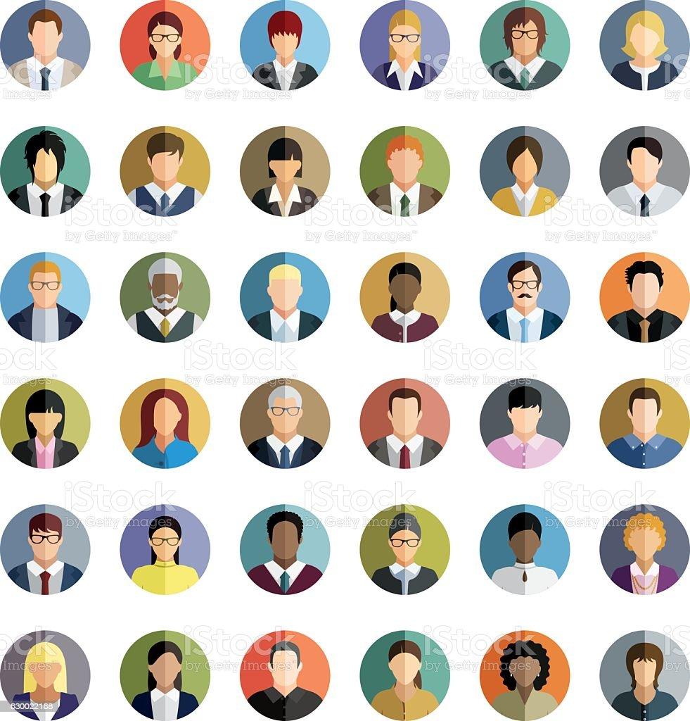 Hommes et femmes d'affaires. Icônes définies. - Illustration vectorielle