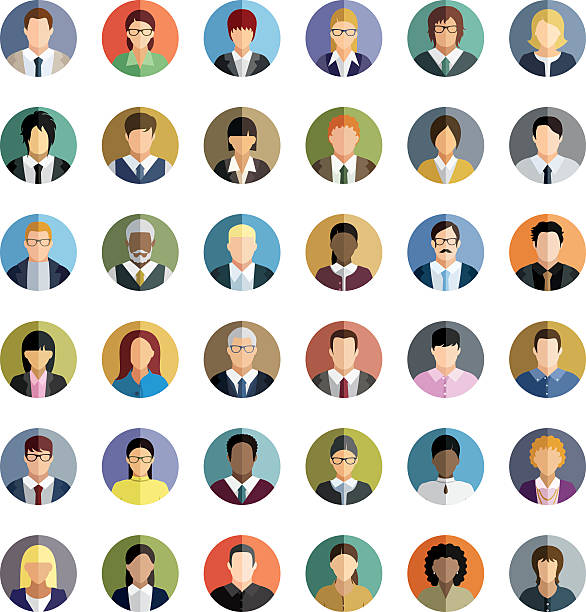 business people. icons set. - female faces stock illustrations, clip art, cartoons, & icons