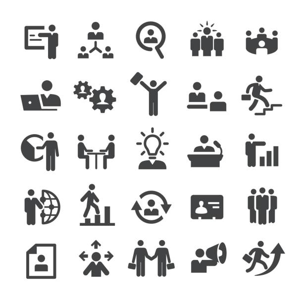 business leute icons - smart-serie - leitende position stock-grafiken, -clipart, -cartoons und -symbole