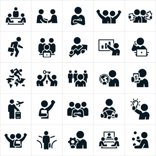 ilustraciones, imágenes clip art, dibujos animados e iconos de stock de iconos de personas de negocios - viaje de negocios