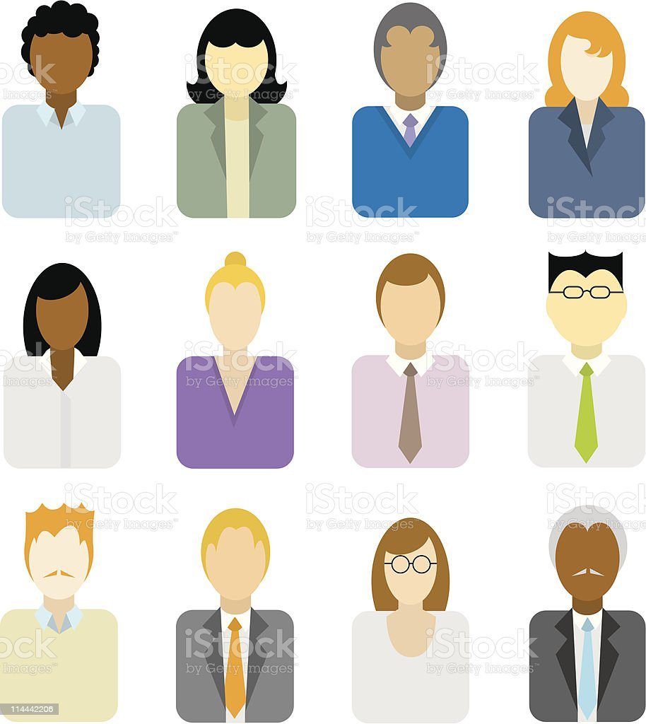 Business people icons (multi ethnic) royalty-free stock vector art