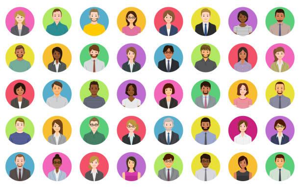 ビジネスユーザーアイコン - ビジネスマン 日本人点のイラスト素材/クリップアート素材/マンガ素材/アイコン素材