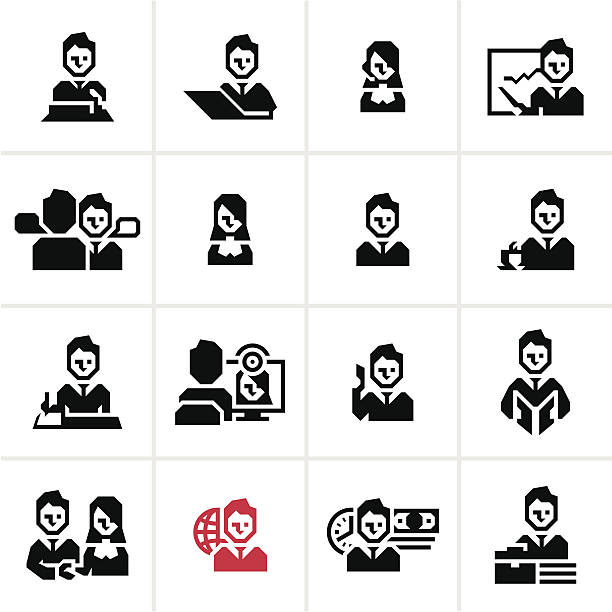 Business people icons Business people and management icons set banking silhouettes stock illustrations
