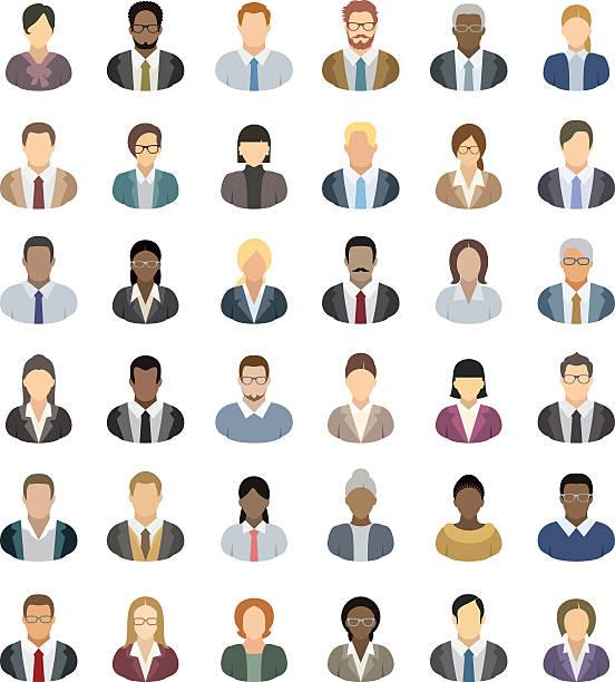 ilustrações, clipart, desenhos animados e ícones de ícones de pessoas de negócios - homens profissionais