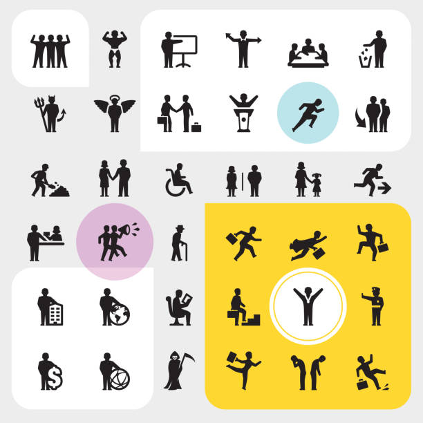 Business people icons Business people Silhouettes Ultimate set. police meeting stock illustrations