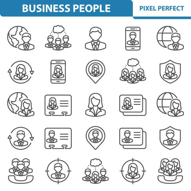 illustrazioni stock, clip art, cartoni animati e icone di tendenza di business people icons - focus group