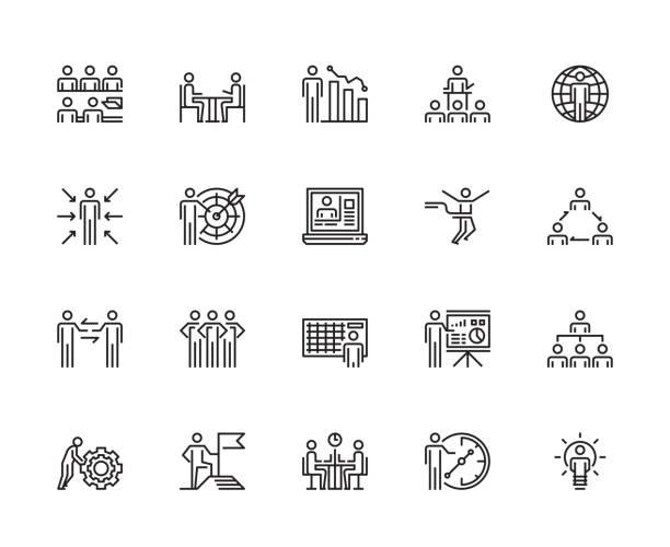 business-menschen-ikonen - schriftsymbol stock-grafiken, -clipart, -cartoons und -symbole