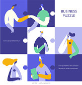Business people in a colorful puzzle collage.