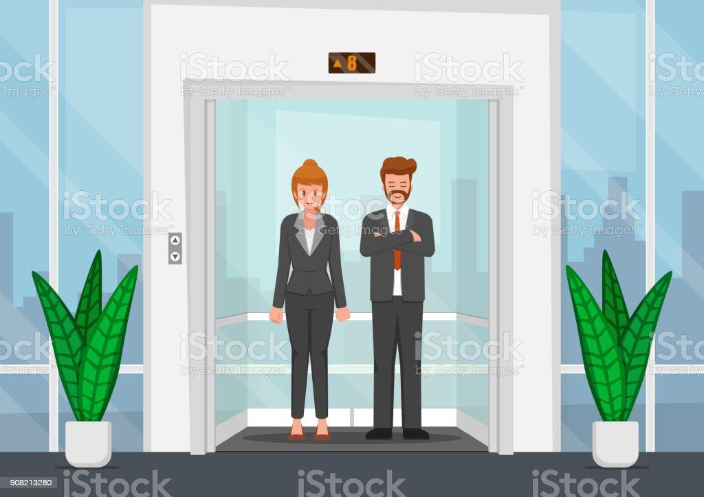Business people in a glass elevator. vector art illustration