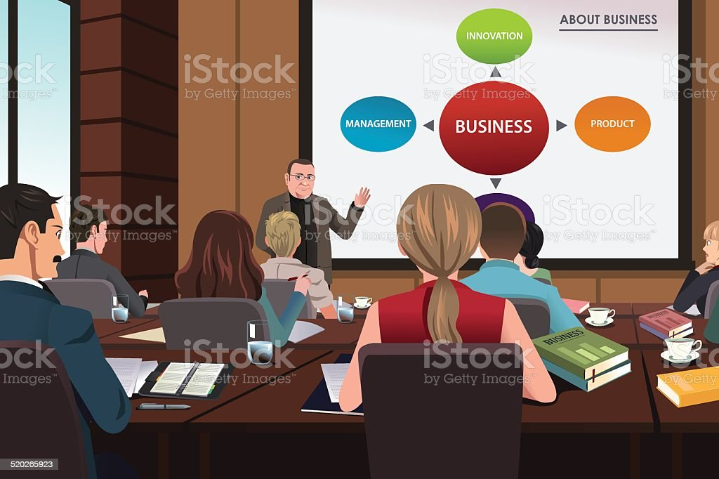 Business people in a seminar vector art illustration