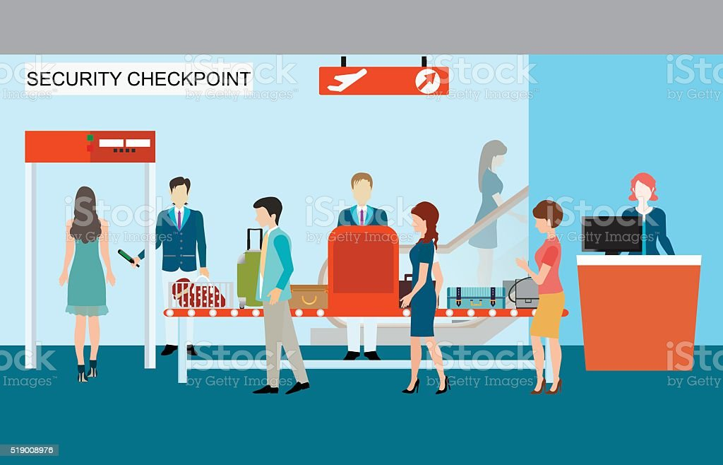 Business people in airport terminal, security check. vector art illustration