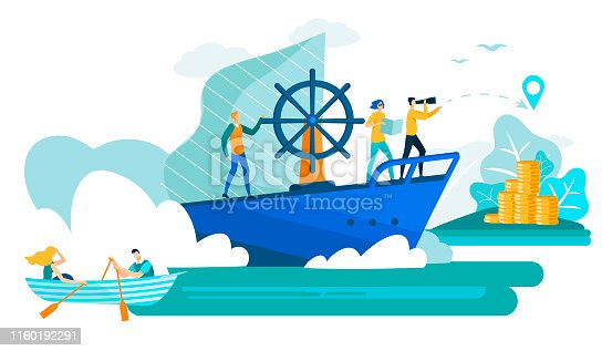 Business People in Boat and Ship Cartoon Flat Vector Illustration. Man with Spyglass Leading Business Team Sailing for Island with Money. Idea Teamwork and Leadership. Moving Towards Success.