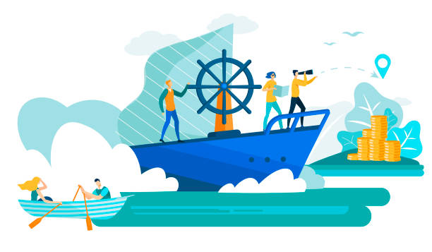 Business People in Boat and Ship Flat Vector. Business People in Boat and Ship Cartoon Flat Vector Illustration. Man with Spyglass Leading Business Team Sailing for Island with Money. Idea Teamwork and Leadership. Moving Towards Success. ship stock illustrations