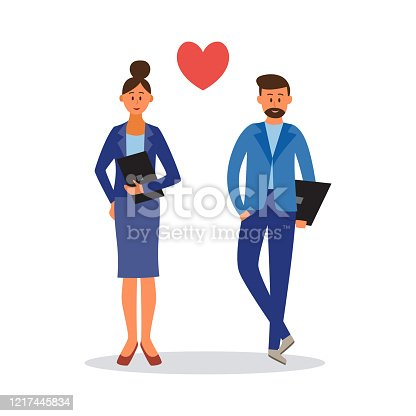 Business people in love - cartoon businessman and businesswoman in office clothes with heart symbol. Corporate man and woman in couple - flat isolated vector illustration