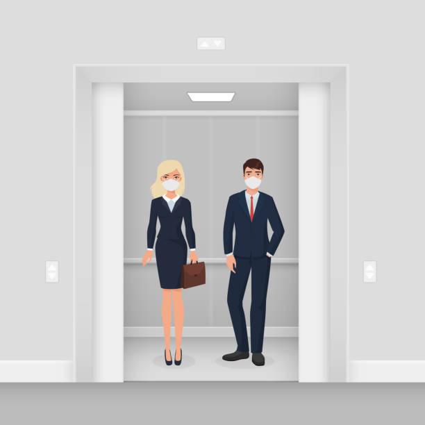 illustrazioni stock, clip art, cartoni animati e icone di tendenza di business people in masks from covid 19 in elevator flat cartoon vector illustration concept - businessman covid mask