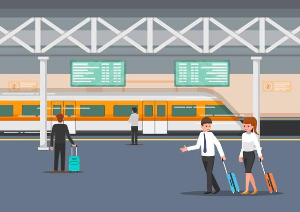 illustrazioni stock, clip art, cartoni animati e icone di tendenza di business people in modern train station platform - illustrazioni su destinazioni di viaggio