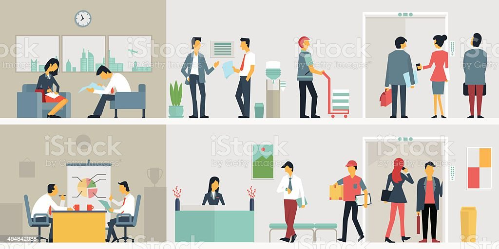Business people in office vector art illustration