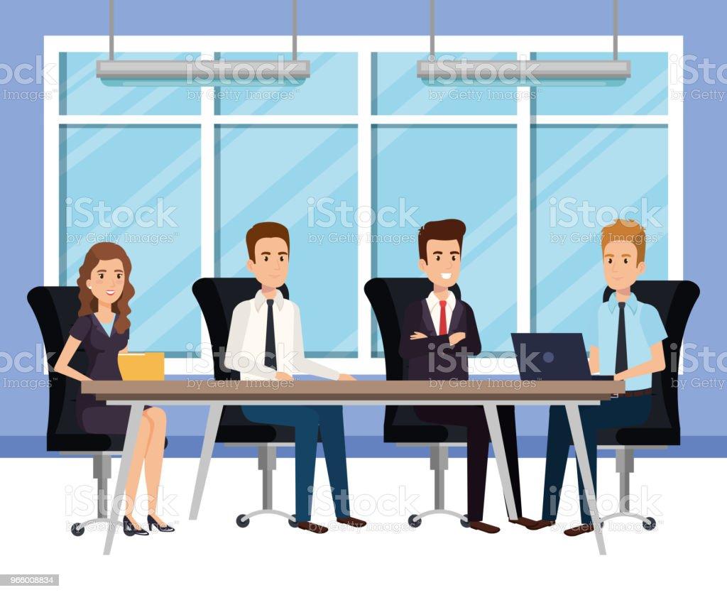 affärsmän i styrelserummet isometrisk avatarer - Royaltyfri Affärskvinna vektorgrafik