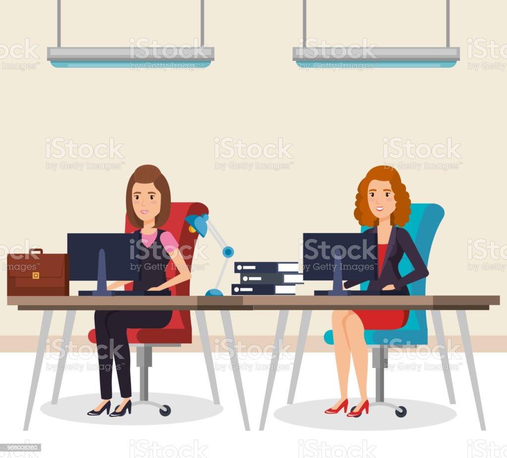 mensen uit het bedrijfsleven in de office isometrische avatars - Royalty-free Attaché vectorkunst
