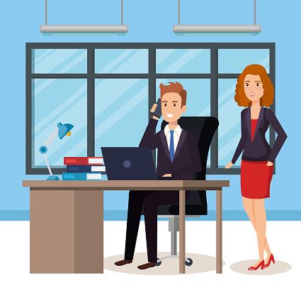 Geschäftsleute In Die Isometrische Büroavatare Stock Vektor Art und mehr Bilder von Am Telefon