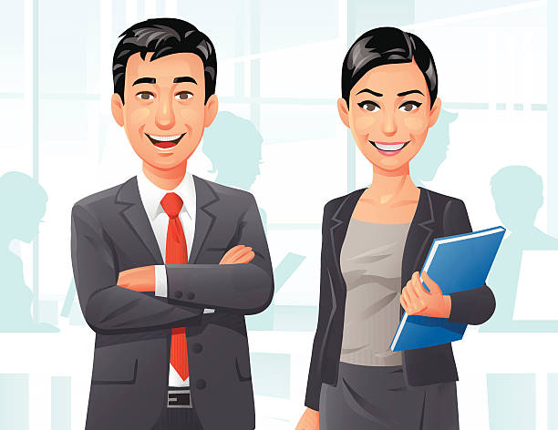 Business People In The Office Vector illustration of a content businessman with his arms crossed and a smiling businesswoman holding a folder, standing in a bright office. In the background other people are busy at work. EPS 10, grouped and labeled in layers. looking at camera stock illustrations