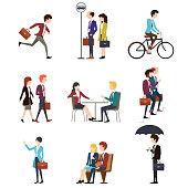 Business people in urban outdoor activity. Vector men and women