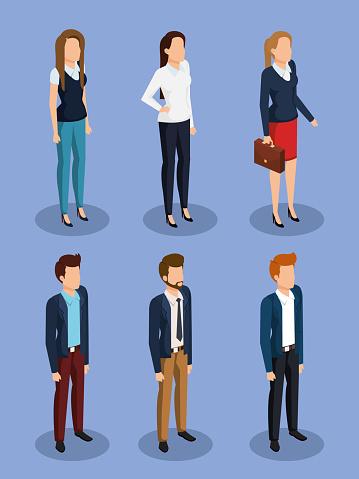 Företag Personer Isometrisk Avatarer-vektorgrafik och fler bilder på Affärsmänniska