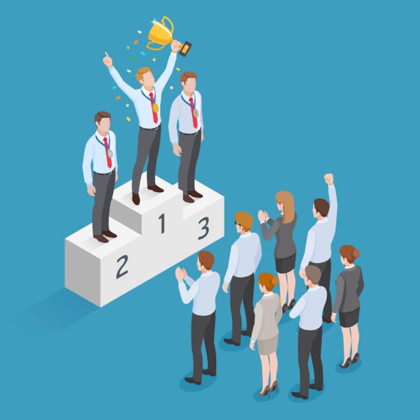 Business-Leute-isometrische Konzept-Design. Gewinner Geschäftsmann haben goldene Medaille stehend auf Sockel hält ein Pokalsieger über seinen Kopf mit einer Gruppe von Geschäftsleuten. – Vektorgrafik