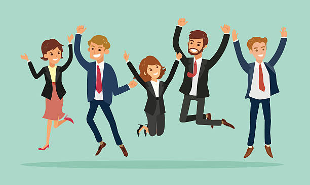 business people jumping celebrating success cartoon illustration - office job stock illustrations, clip art, cartoons, & icons