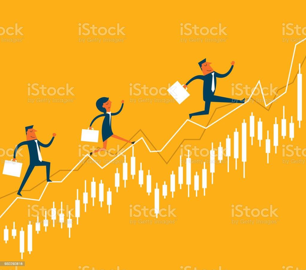 Gens d'affaires sautant dans le marché boursier - Illustration vectorielle