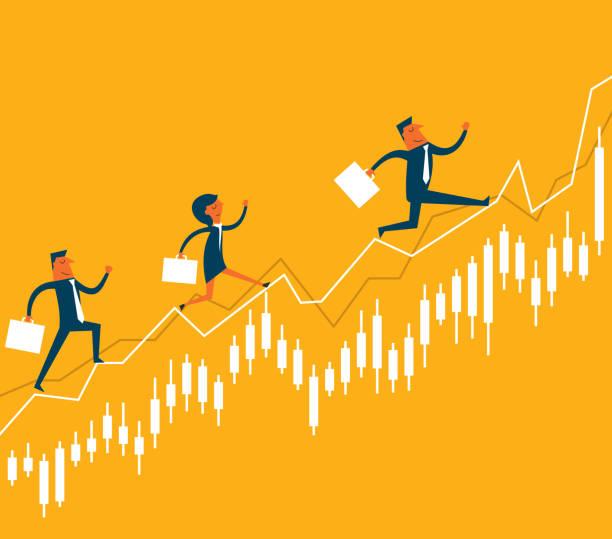 ilustraciones, imágenes clip art, dibujos animados e iconos de stock de empresarios de salto en el mercado de valores - corredor de bolsa