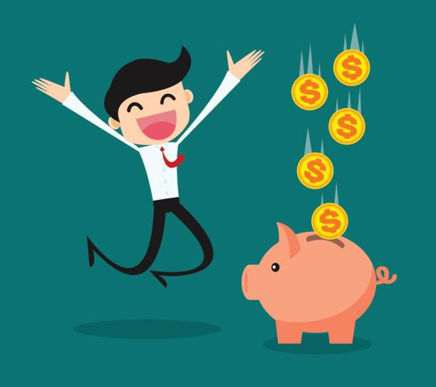 business people keep their savings in the piggy bank/ success business vector illustration concept vector art illustration