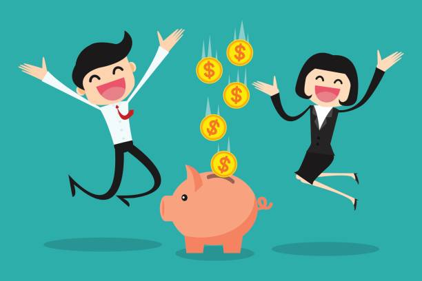business people keep their savings in the piggy bank/ success business vector illustration concept business people keep their savings in the piggy bank/ success business vector illustration concept budget backgrounds stock illustrations