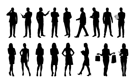 Business people, large set of vector silhouettes of men and women. Workers in suit or clothes